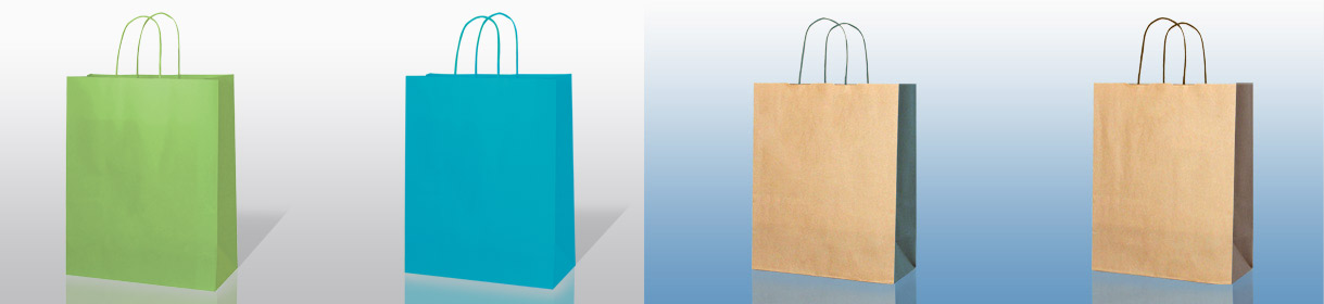 Plain Paper Shopping Bags Colours: Apple Green, Baby Blue; Two Colour Brown Kraft with Grass Green or Choco Brown Gusset.