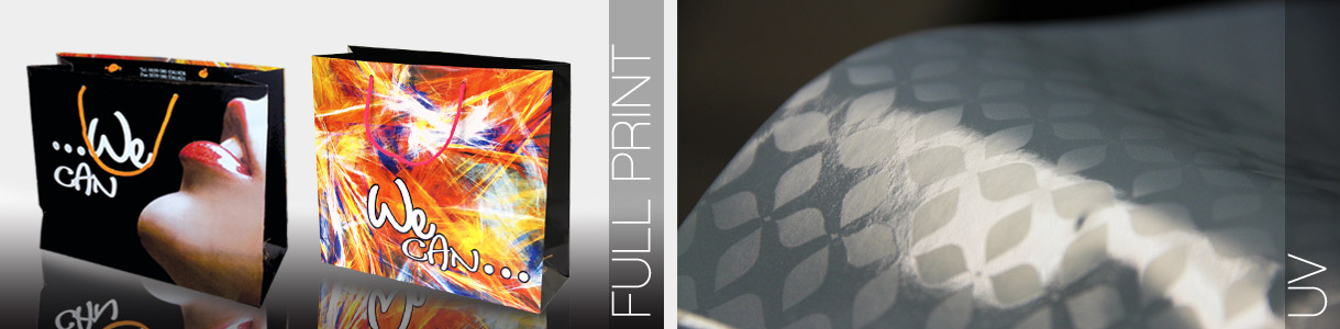 Full Print and UV Embossing. Luxury Paper Carrier Bags.